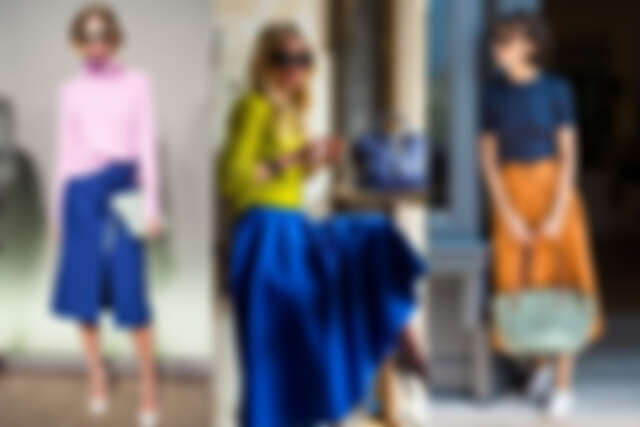 穿搭重點在於平衡,雖然是撞色不過藍色總是能扮演最好的協調者(圖片來源:Pinterest)