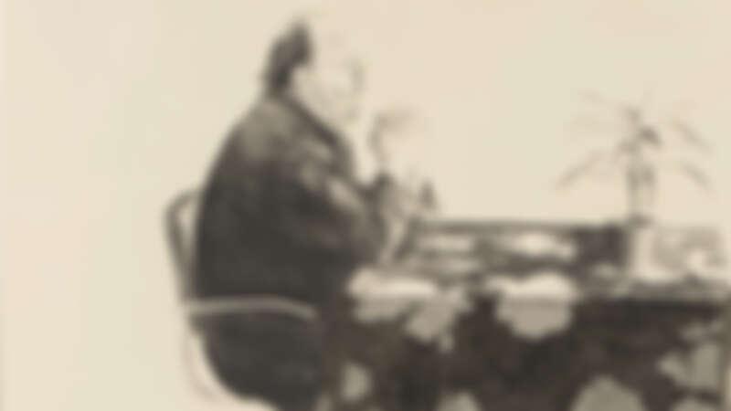 晴山藝術中心 Imavision Gallery_大衛•霍克尼 David Hockney_Henry at table _版畫Lithograph (2 stones , 1 aluminum (late , crayon tusche) _75.5x105.8cm_1976