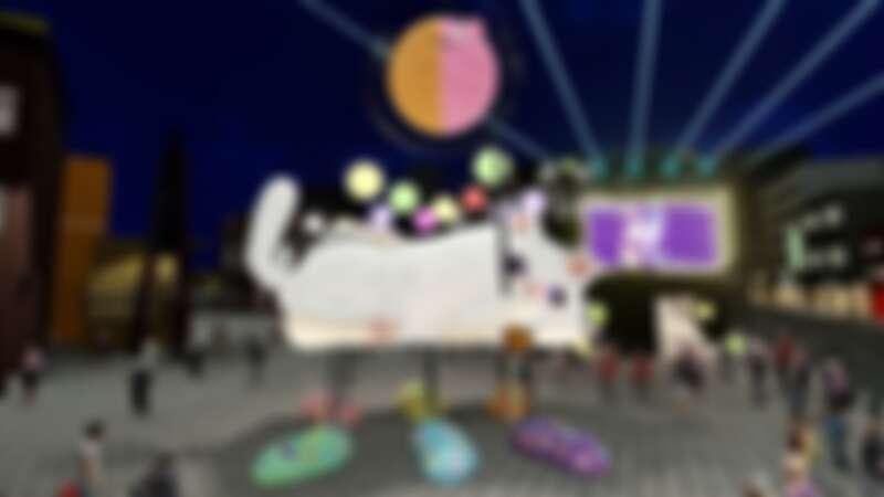 2020台北燈節西區主燈《躲貓貓》,下方能讓民眾穿梭