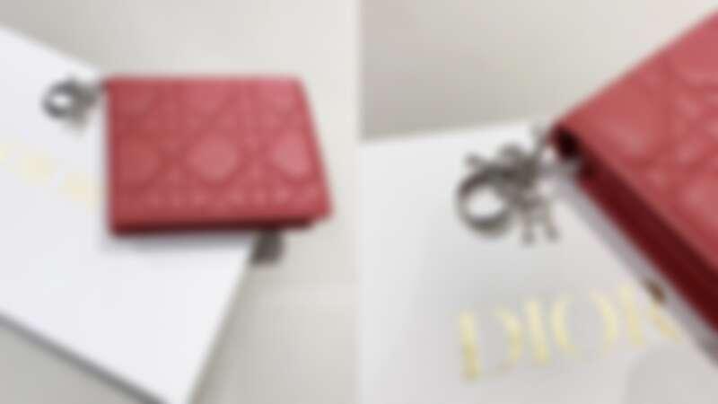 DIOR Lady Dior紅色籐格紋小羊皮皮夾,NT18,000