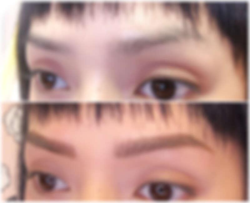 上圖:修眉前;下圖:修眉後