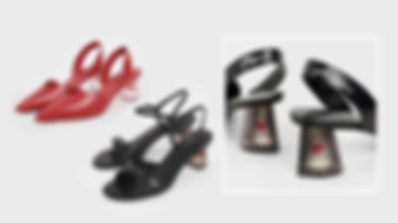 CHARLES KEITH漂浮紅心粗跟鞋,NT1,990、漂浮紅心涼鞋,NT1,890。