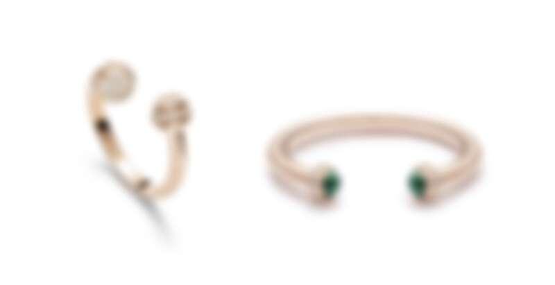 Possession系列18K玫瑰金鑲鑽戒指、Possession系列孔雀石18K玫瑰金鑲鑽手鐲。
