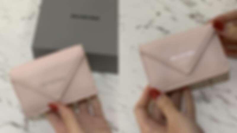 BALENCIAGA Papier mini wallet粉色迷你短夾,NT12,000