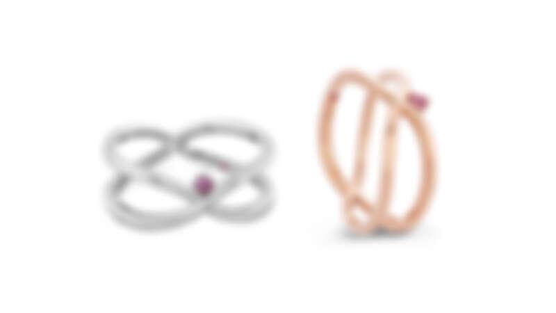 LOVE WRAP戒指,玫瑰金/白K金、粉紅剛玉
