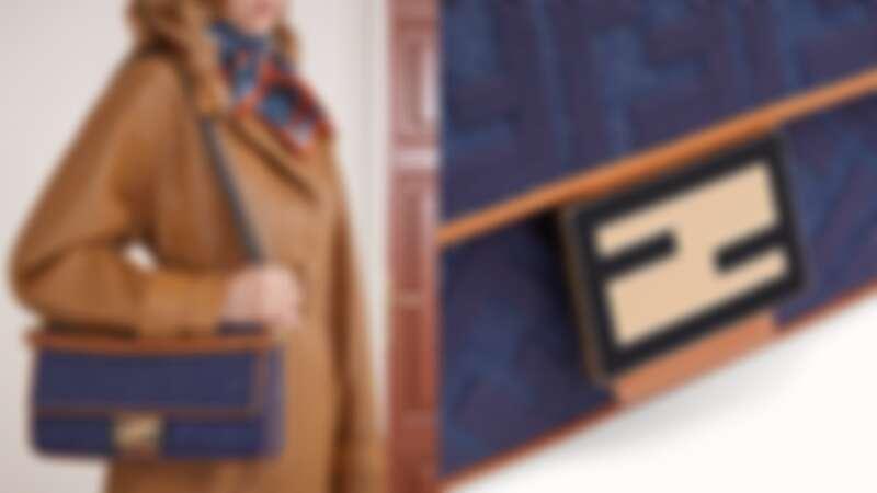 Fendi 丹寧FF Logo Baguette肩背包,NT83,900