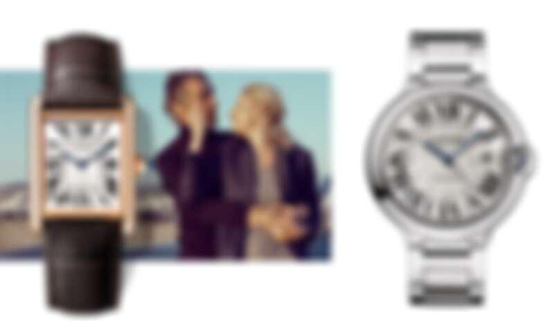 (左)Tank Louis Cartier腕錶,大型款,約NT383,100 /(右)Ballon Bleu de Cartier腕錶,42毫米,約NT201,000