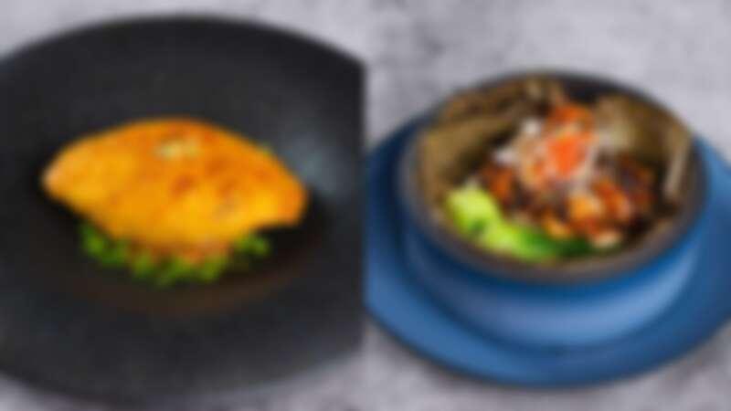 焗釀鮮蟹蓋、豉汁龍蝦蒸豆腐