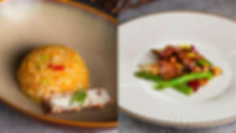 泰國蝦頭油阿拉斯加蟹肉炒飯、香辣蘆筍美國牛柳粒