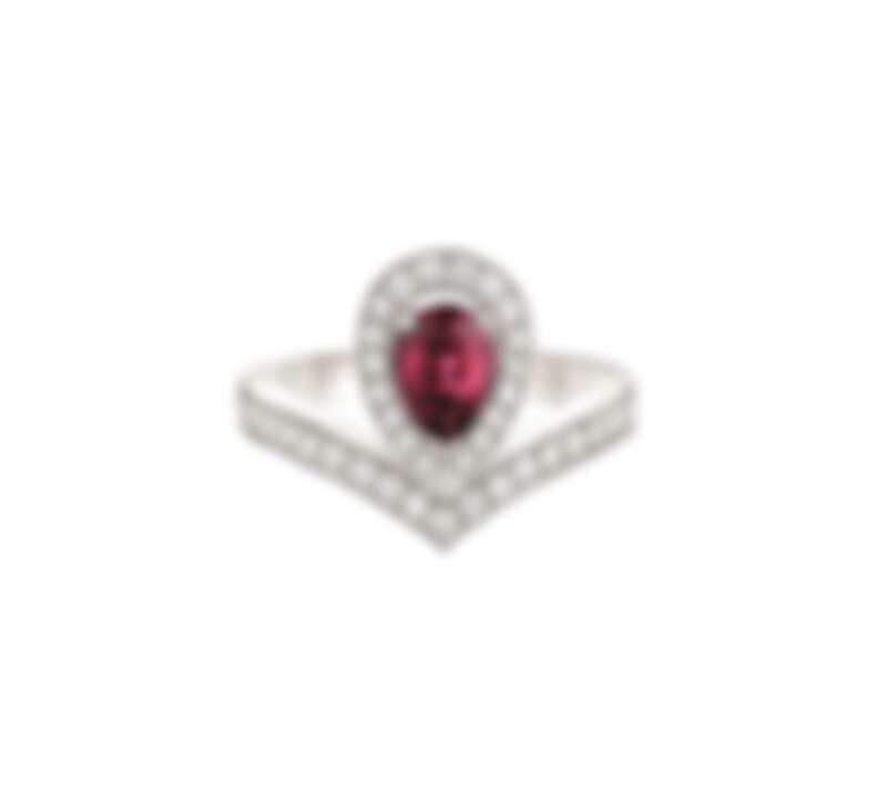 Joséphine Aigrette 18K白金玫瑰榴石戒指