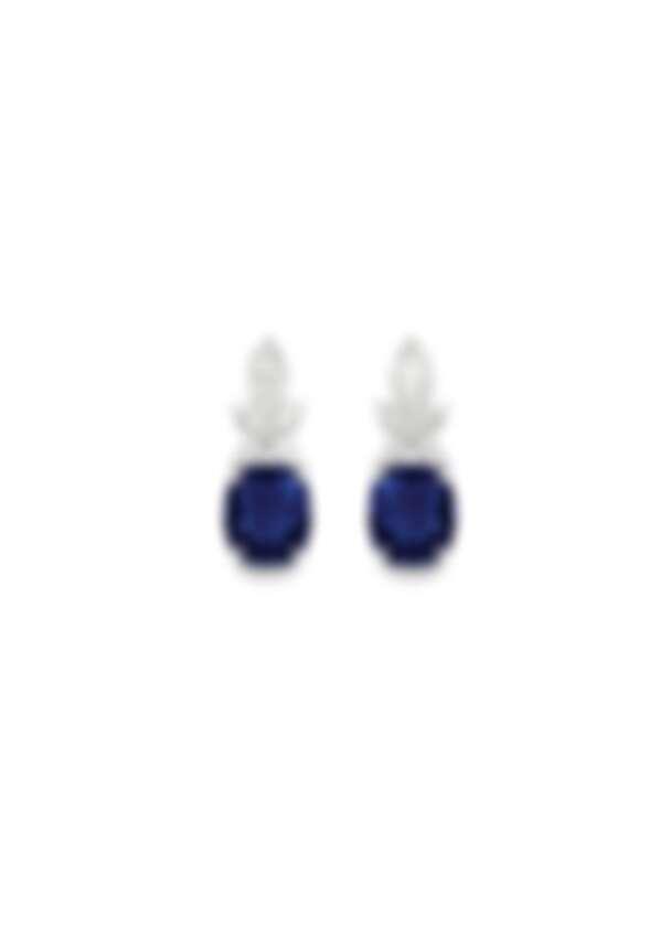 PIAGET Treasures Collection 18K白金藍寶石高級珠寶耳環,18K白金、鑽石、藍寶石