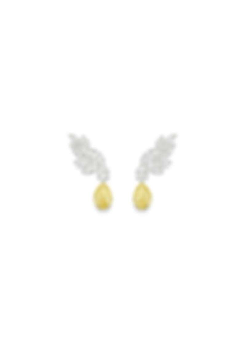 PIAGET Treasures Collection 18K白金黃鑽高級珠寶耳環,18K白金、鑽石、黃鑽