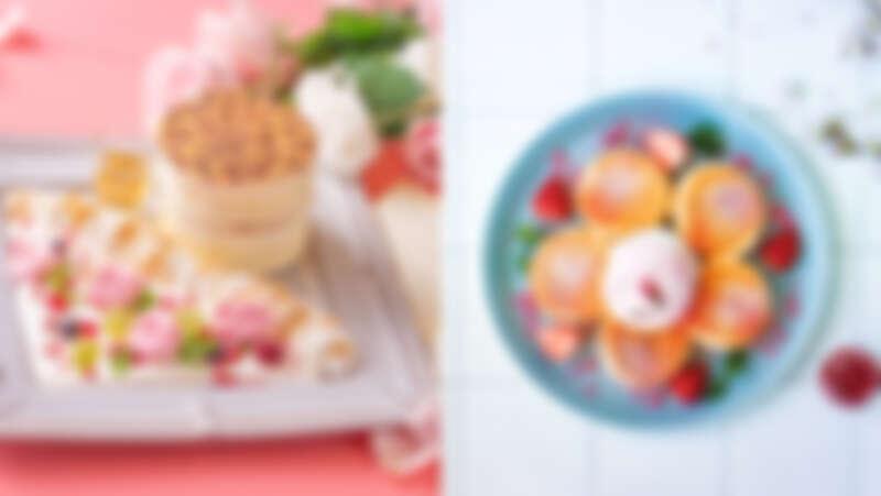 (左圖)誠品生活南西|Engolili英格莉莉|花園豹紋厚鬆餅;(右圖)誠品生活南西|FLIPPER'S 奇蹟的舒芙蕾鬆餅|櫻花紅寶石巧克力舒芙蕾。