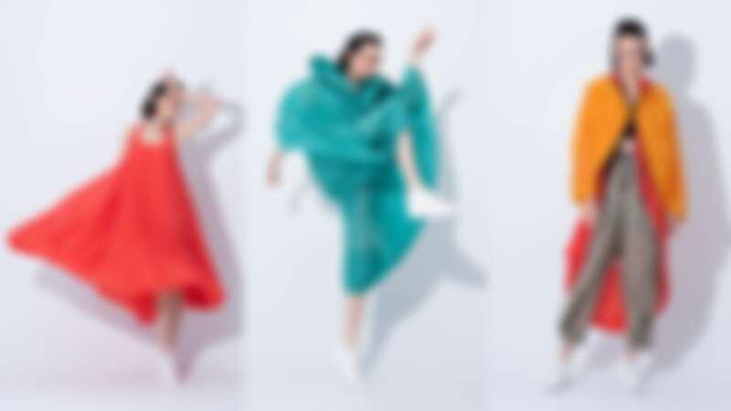(左起)風動飄拂洋裝(NT$76,800)、連身褲(NT$81,800)、短大衣(NT$46,800)、長大衣(NT$66,300)、褲(NT$34,800)