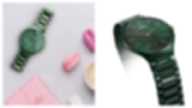 這款大自然系列腕錶是與義大利大型花園推廣組織 Grandi Giardini Italiani 一同合作創造,靈感來自於大自然並於錶款設計中融入了自然元素,綠色高科技陶瓷搭配帶有綠葉紋理的珍珠母貝,流露大自然的清新詩意。