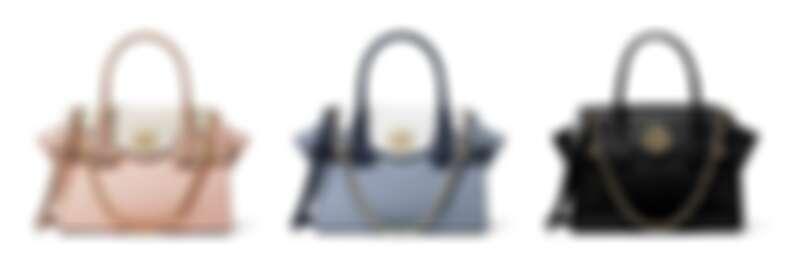 Carmen系列 粉白色拼接提包、藍白拼接提包、黑色拼接提包,各NT15,900