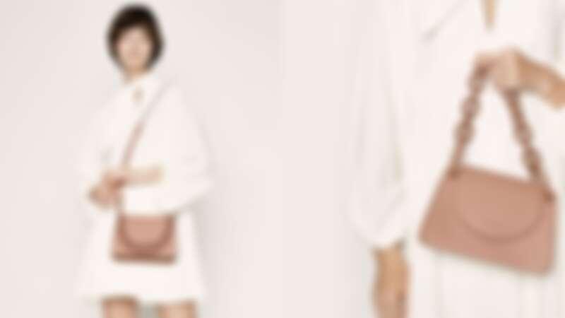 嫩粉色粗鍊小型肩背包
