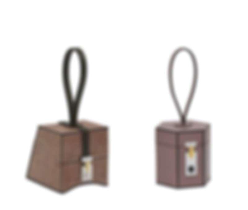Mini Vanity梯形(岩板系列),紫灰色包款;Mini Vanity六角形(生物電子鎖釦) 紫灰色包款。