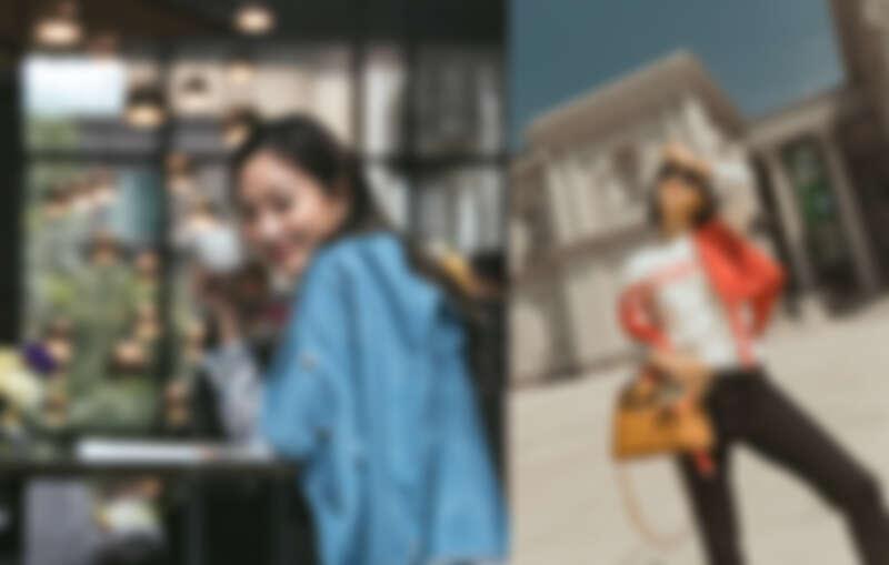 (右)多穿式風衣外套 $25,600、A PERFECT DAY針織衫 $11,600、修身丹寧褲 $9,600  (左)鈴蘭花印花襯衫 $8,600、棋盤格帕角式鉛筆裙 $9,900 、 丹寧效果西裝外套 $18,900