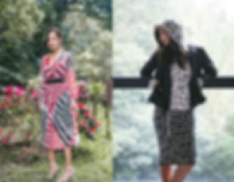 (右)滿版LOGO印花帽T $14,300、A PERFECT DAY針織鉛筆裙 $11,600、風衣外套 $16,300 (左)迷幻幾何洋裝 $22,300