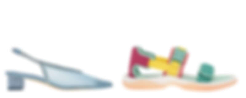 藍色網紗低跟鞋,NT1,790、運動風休閒涼鞋,NT1,890