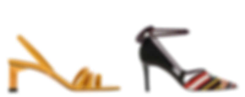 多帶高跟涼鞋,NT1,590、羅緞繩索綁帶跟鞋,NT1,790