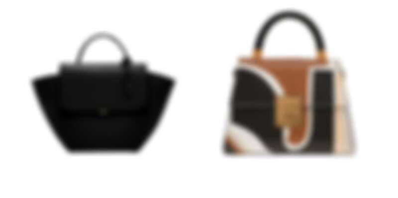 黑色簡約翻蓋手提包,NT2,290、混色流線壓紋信封包,NT2,290