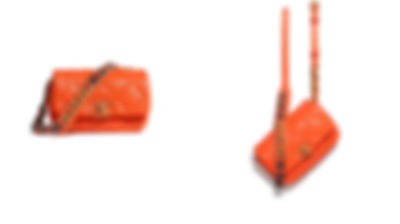 橘色菱格紋皮革CHANEL 19腰包