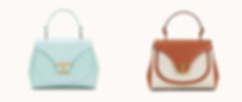 TIMELESS BAG水藍色提包、TIMELESS BAG異材質拼接焦糖白撞色提包