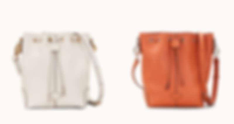慕斯白皮革水桶包、磚橘皮革水桶包