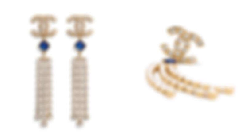 雙C流蘇水鑽耳環,約為NT27,100