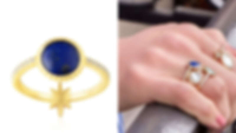 Yellow Silver Star Ring With Lapis,NT2,600
