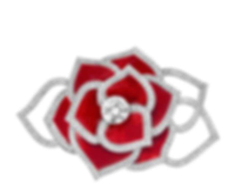 Piaget Rose Extraordinaire內塡琺瑯工藝頂級珠寶鑽石胸針