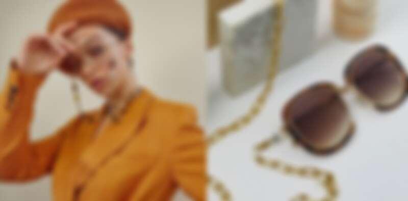 左:FOR ART'S SAKE 14K金眼鏡鏈 建議售價$4280元/右:MILKY WAY墨鏡建議售價$7880元