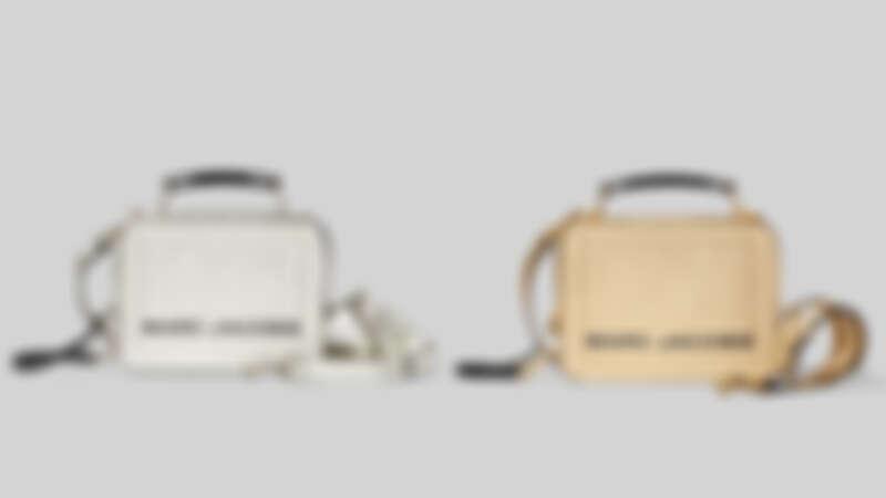 Marc Jacobs 科技銀The Box餐盒包(23cm)、貴氣金The Box餐盒包(23cm),各NT19,900。