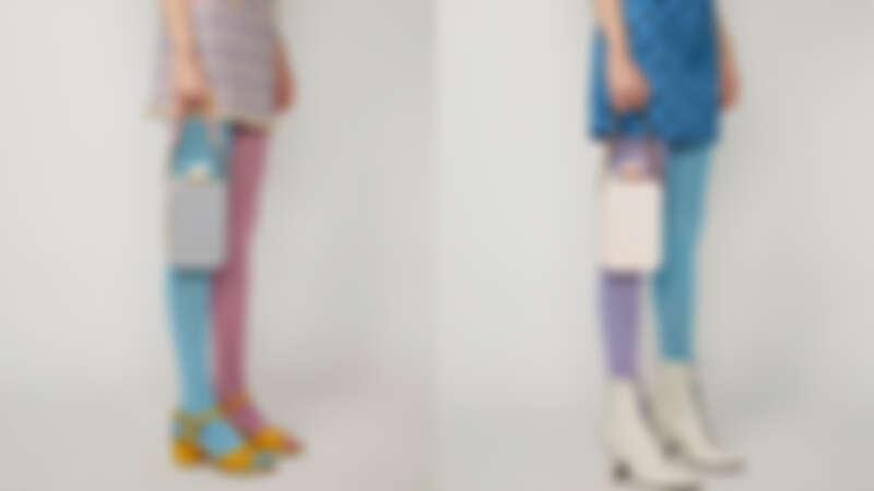 Marc Jacobs 灰黃粉撞色The Vanity復古珠釦包,NT24,900、芭蕾舞裙粉The Vanity復古珠釦包,NT22,900。