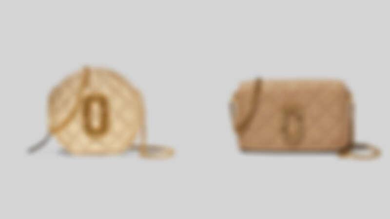 Marc Jacobs 耀眼金The Status復古格紋小圓包,NT20,900、優雅米The Status復古格紋翻蓋方包,NT23,900。