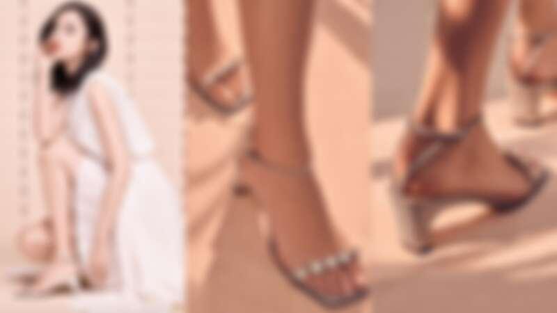 古力娜札演繹此次限量登台的SR 1系列方頭一字帶水鑽高跟涼鞋