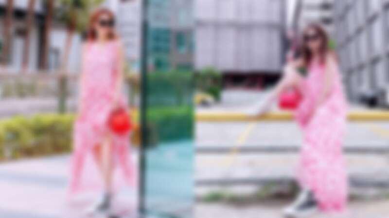 謝金燕著Blumarine粉紅圓點長洋裝(NT$32,500)