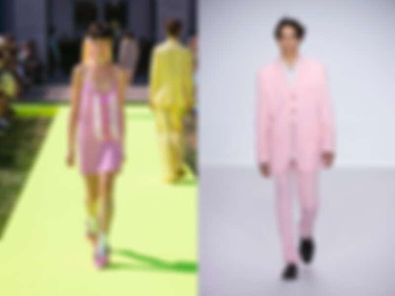 (左起)MSGM粉白格紋洋裝(NT$29,800)、Paul Smith春夏粉紅色西裝