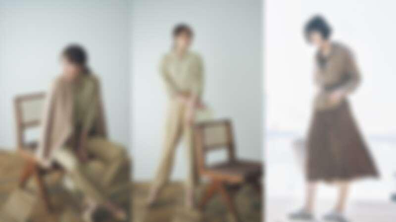 (左起)亞麻混紡七分袖開領上衣(NT$790)、特級亞麻長袖襯衫(NT$990)