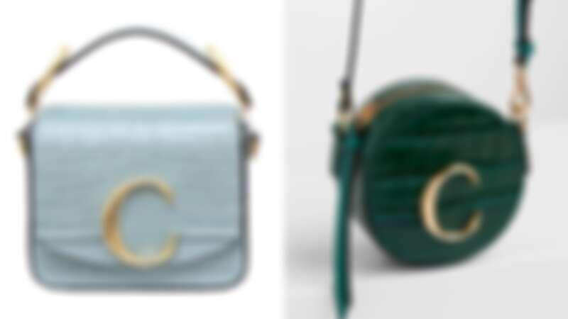 Chloé C春夏新色霧藍色鱷魚皮壓紋迷你小方包(NT$55,500)、Chloé C森林綠鱷魚皮壓紋迷你小圓包(NT$17,000)