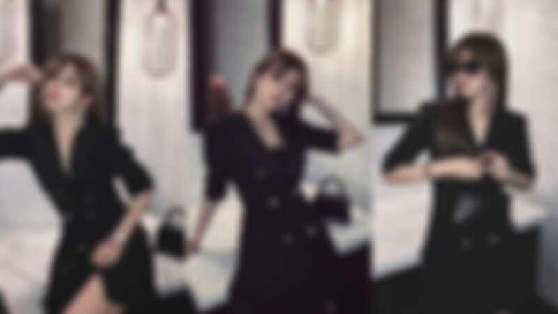 周揚青穿排釦小洋裝露美腿,搭配Yun Yun Sun水鑽流蘇耳環與Balenciag迷你黑色鱷魚壓紋沙漏包