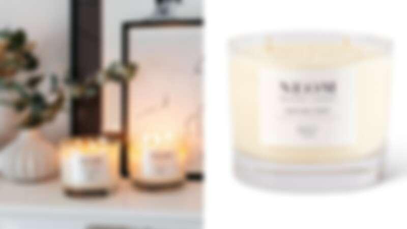 NEOM靜心舒眠香氛蠟燭使用植物蠟與100%天然植物精油打造,享受靜謐的放鬆時光。(圖片提供10/10HOPE)