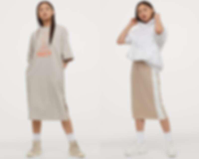 長版上衣NT$699、棉質運動風鉛筆裙NT$499