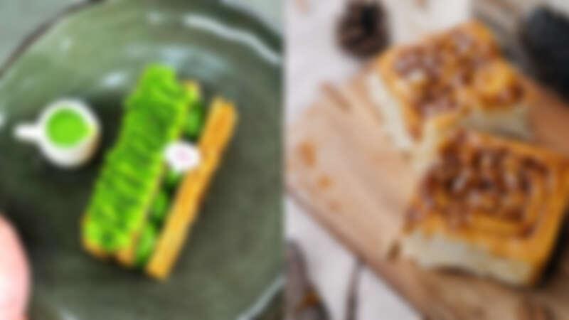 (左圖)誠品生活南西5/1 - 5/10 「夢幻甜點店」|午冬甜點|濃抹私藏千層酥;(右圖)誠品生活南西5/1 - 5/10  「夢幻甜點店」|Miss V Bakery|焦糖黏黏包肉桂捲