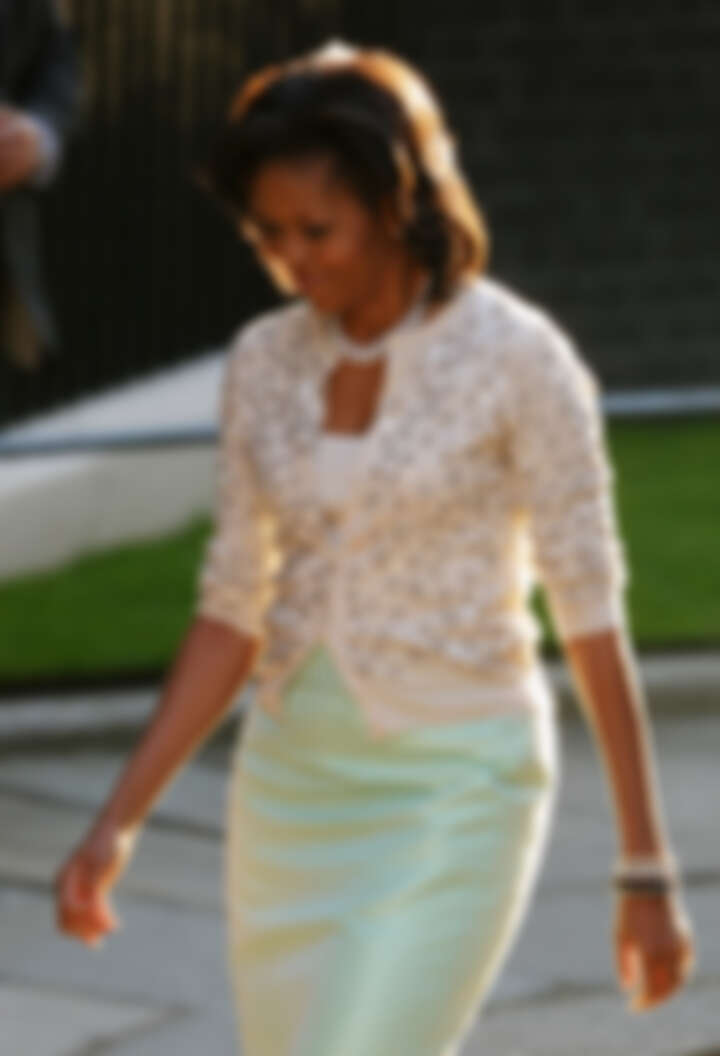 蜜雪兒・歐巴馬穿J.Crew薄荷綠鉛筆裙亮相。Photo Credit:time.com