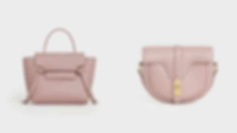 BELT小牛皮肩背提包(NT$69,000)、BESACE 16 復古粉緞面小牛皮肩背包(NT$75,000)