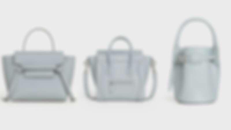BELT小牛皮肩背提包(NT$69,000)、LUGGAGE小牛皮肩背提包(NT$81,000)、BIG BAG BUCKET小牛皮袖珍提包(NT$56,000)