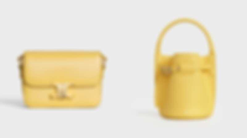 TRIOMPHE小牛皮肩背包(NT$105,000)、BIG BAG BUCKET小牛皮袖珍提包(NT$56,000)